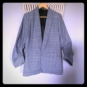 Grey Micro Plaid Open Front Slouchy Blazer